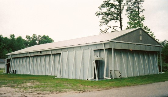 A permanent MOUT shoothouse set up at a tactical training location.